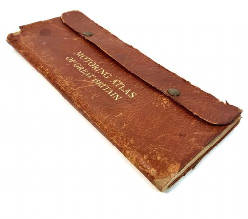 Vintage Leather Cased Johnston's A - B Road Map / Atlas / Car Size / Complete